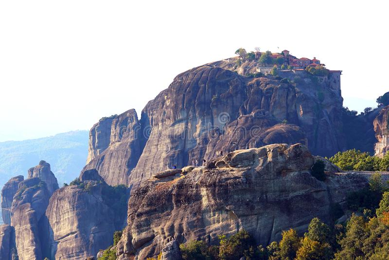 Beautiful light effect at dawn on the rock formations and monasteries of Meteora stock image