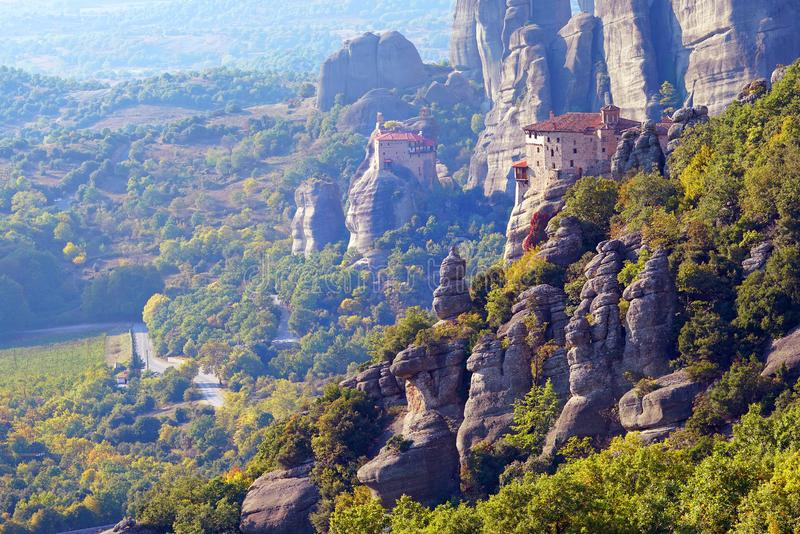 Beautiful light effect at dawn on the rock formations and monasteries of Meteora stock photo