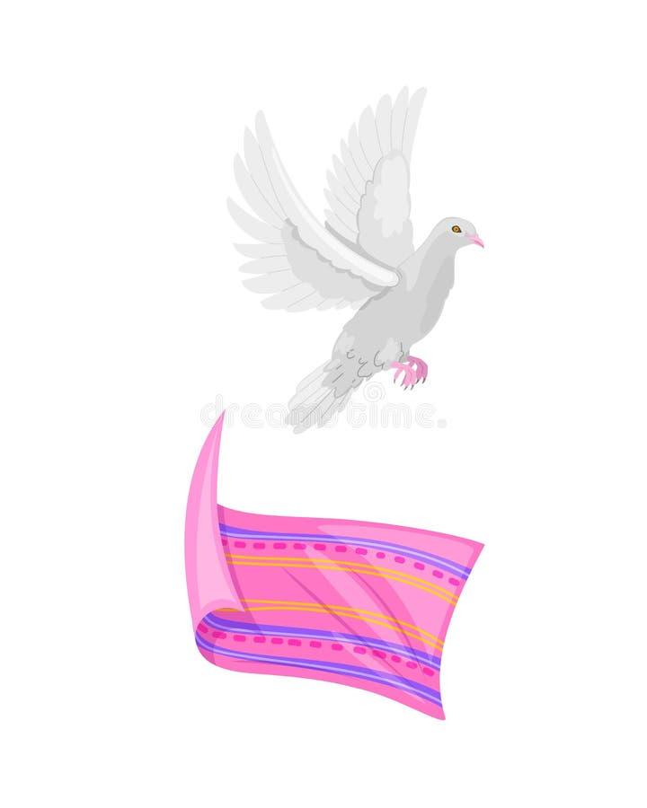 Beautiful light dove, symbol of freedom, spirit of life, soul. Beautiful light indian dove, symbol of freedom, spirit of life, soul, innocence, tenderness and vector illustration
