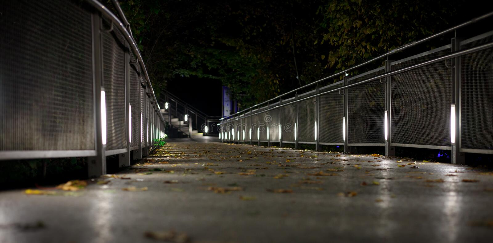 Beautiful light spots at a small bridge in graz at night with some foliage in autumn. From frog perspective stock photo