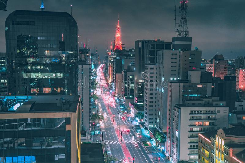 Beautiful lighted avenue seen from above. Main avenue of São Paulo illuminated and seen from above stock photo