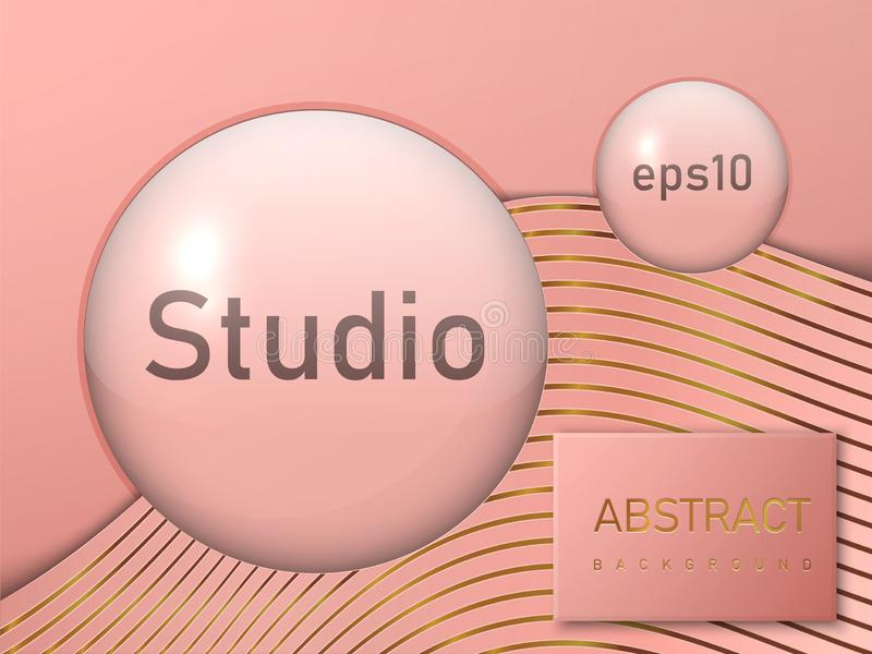 Empty round transparent balls, studio spaces. Free space for the presentation of your product. Vector illustration. vector illustration