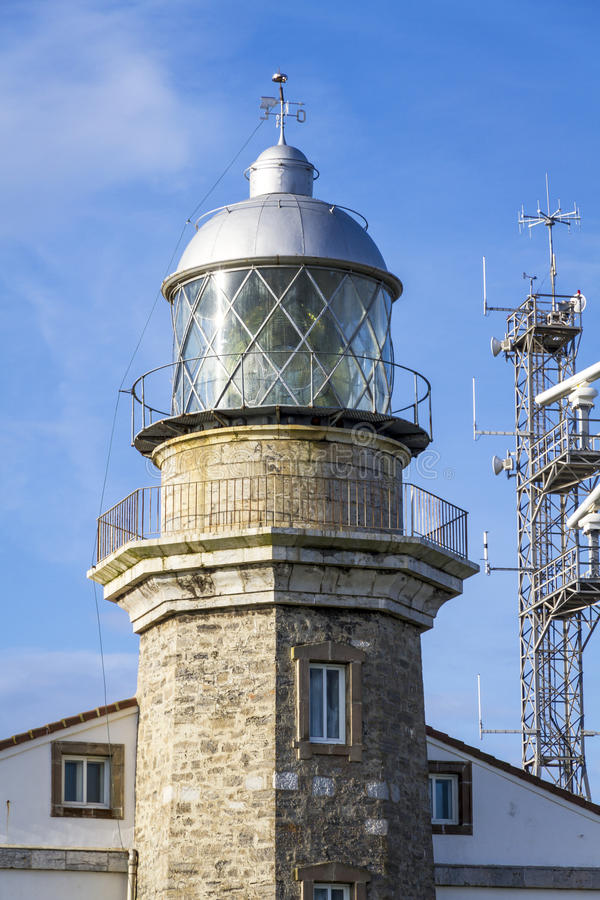 Beautiful lighthouse in Asturias in northern Spain Bay of Biscay royalty free stock photos