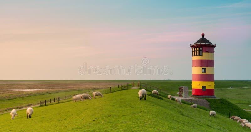 Beautiful lighthouse on the East Frisian coast royalty free stock photography