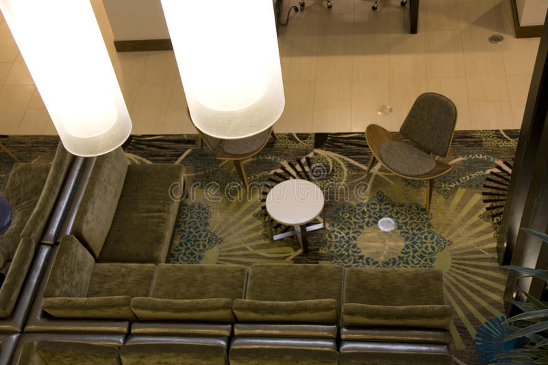 Beautiful lighting in hotel lobby royalty free stock images