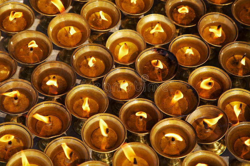 Beautiful lighting oil lamps for Hindu and Buddist festivals stock image