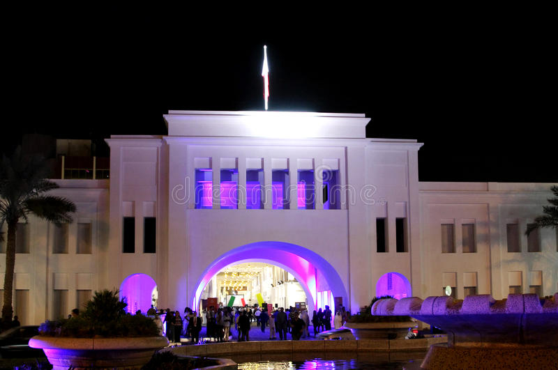 Beautiful lighting of restored Bab Al Bahrain arch stock photography