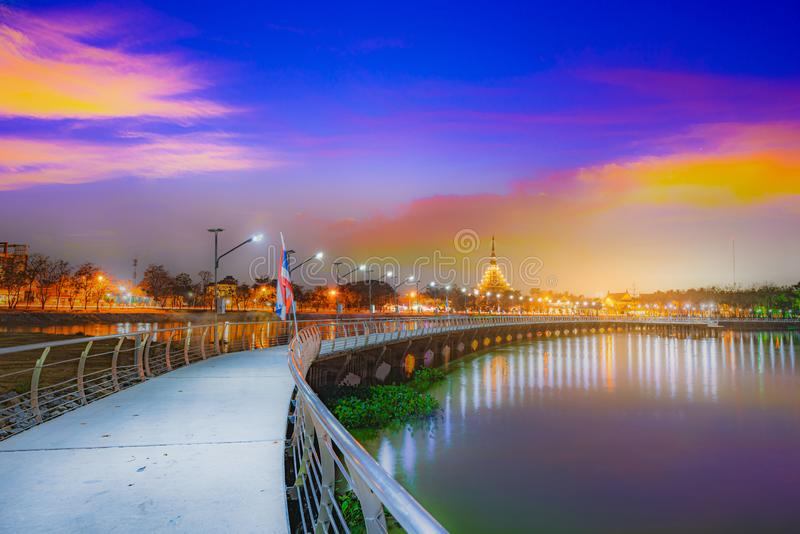 Beautiful lighting of Wat Nong Wang temple and reflection on the water at Khonkaen province,Thailand.  royalty free stock images