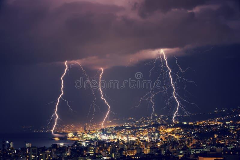 Beautiful lightning at night royalty free stock photo