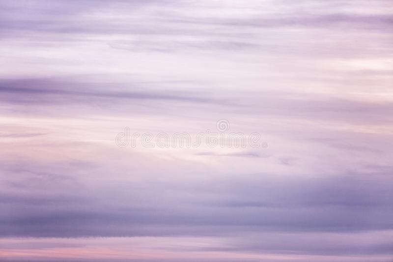 Beautiful lilac sunset on the sky, background. Space for text stock photography