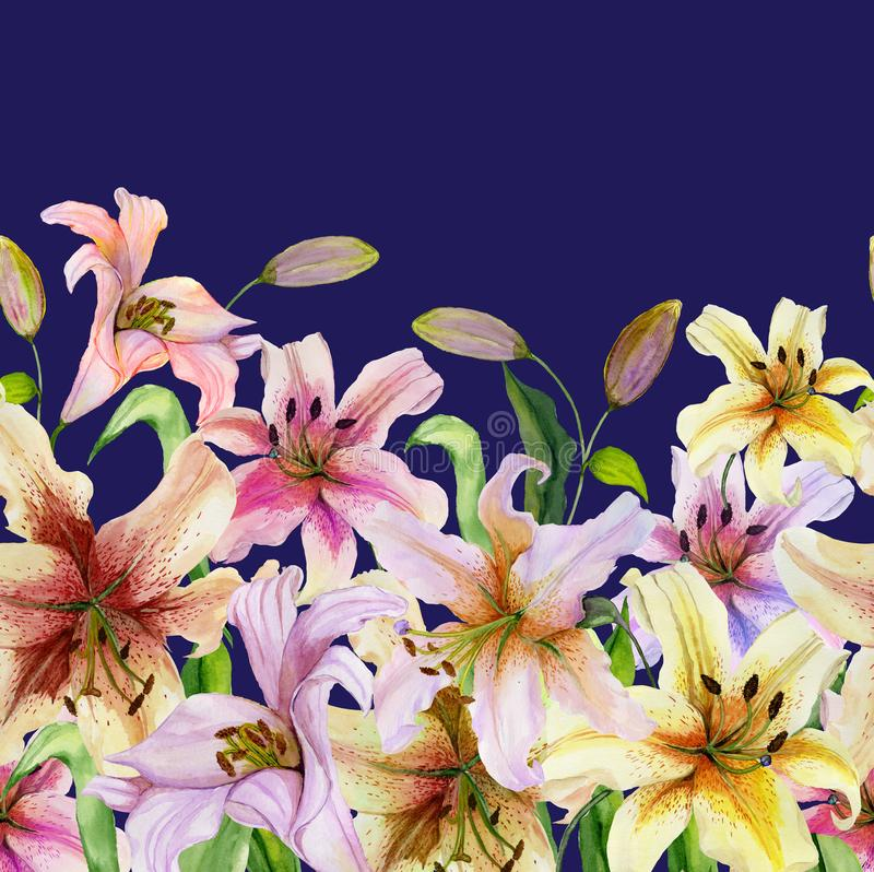 Beautiful lily flowers with green leaves on vivid blue background. Seamless floral pattern. Watercolor painting. Hand drawn and painted illustration. Fabric royalty free illustration