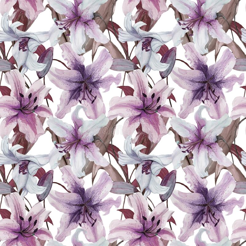 Beautiful lily flowers with leaves on white background. Tints of purple, blue, lilac. Seamless floral pattern. Watercolor painting. Hand painted illustration vector illustration
