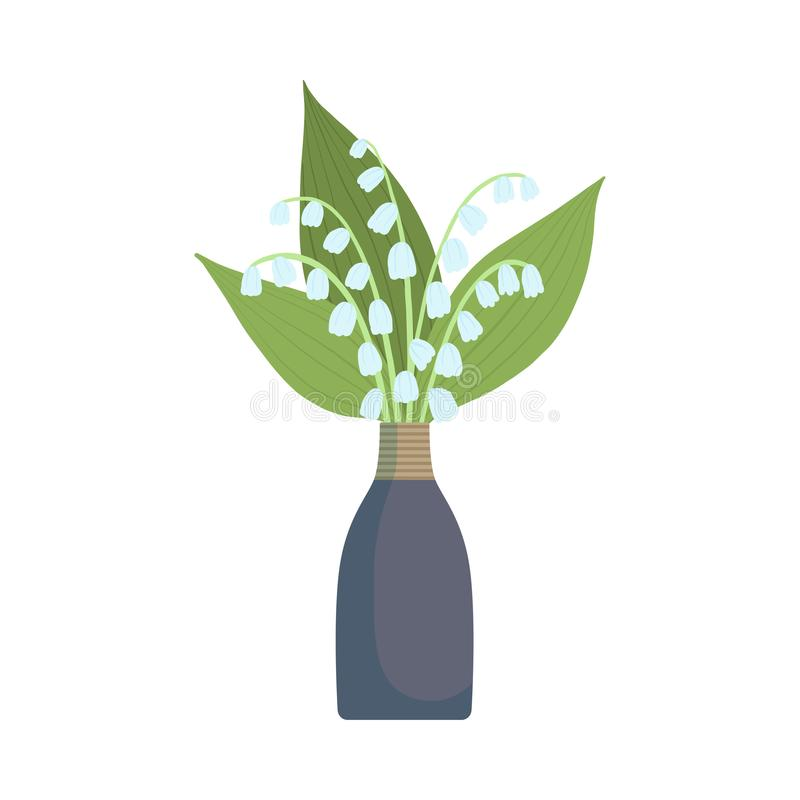 Beautiful Lily of Valley Flowers in Vase, Bouquet of Blooming Flowers for Interior Decoration Vector Illustration. On White Background royalty free illustration