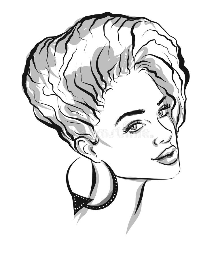 Beautiful line art black woman illustration royalty free illustration