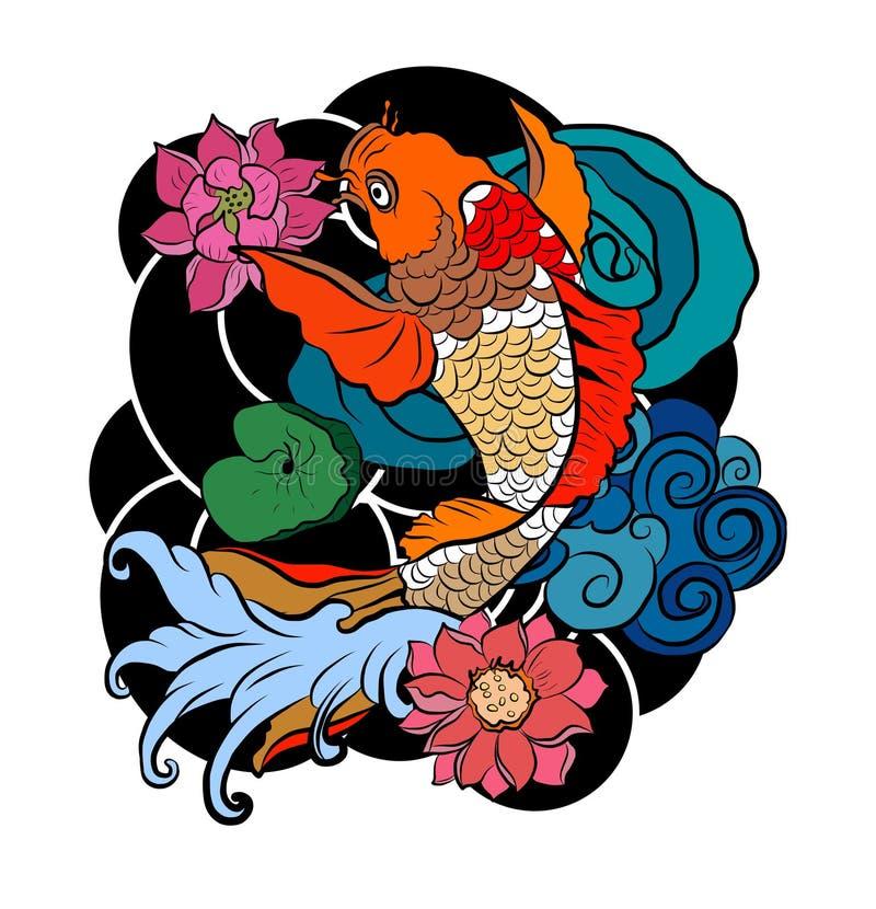 Beautiful line art Koi carp tattoo design ,colorful koi fish and flower. Idea for tattoo and coloring books. vector illustration