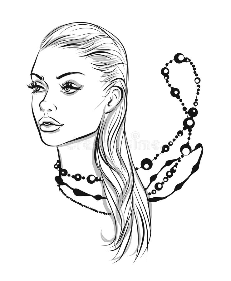 Beautiful line art woman with accessories illustration. Beautiful line art woman vector illustration stock illustration