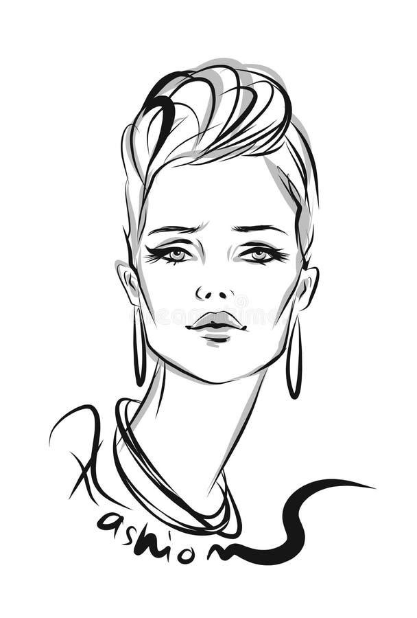Beautiful line art woman with decorative type illustration royalty free illustration