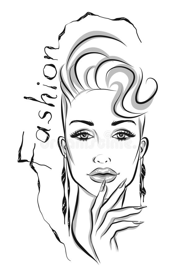 Beautiful line art woman with a decorative type illustration royalty free illustration