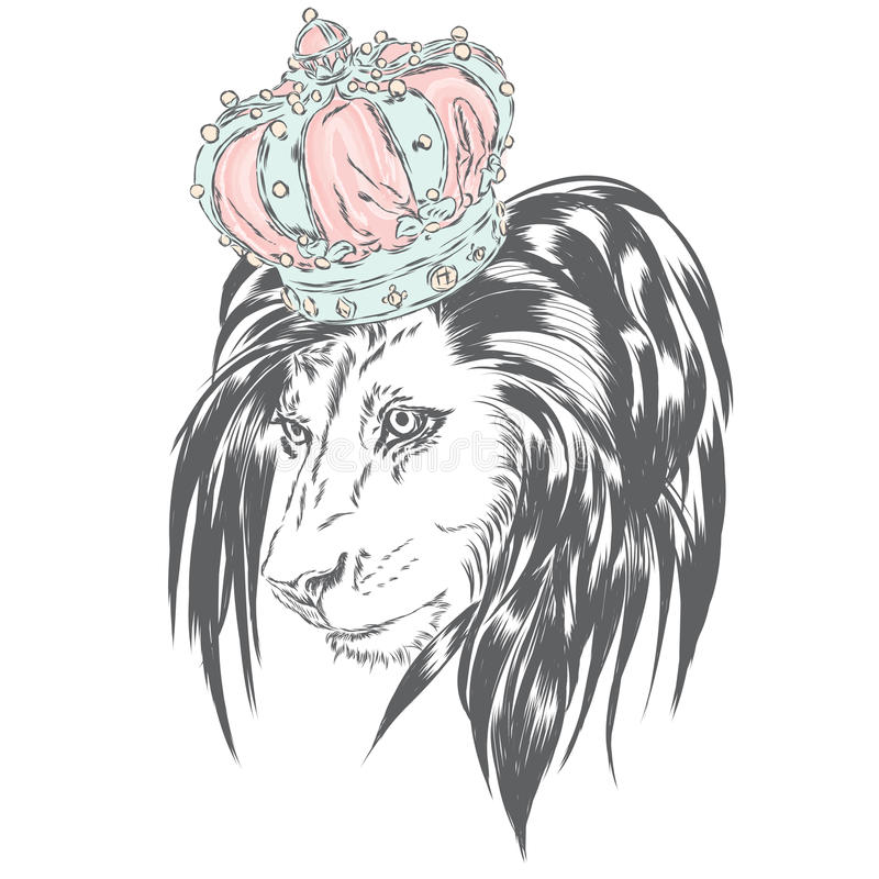 Beautiful lion wearing a crown. King of beasts. Vector illustration for greeting card, poster, or print on clothes. Vector illustration for greeting card stock illustration