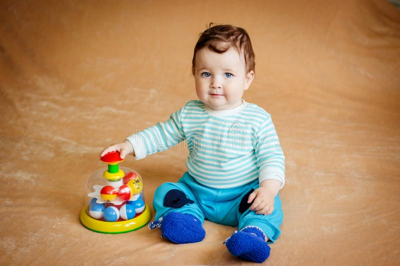 A beautiful little baby with blue eyes stock photography