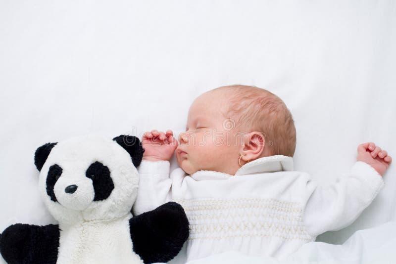 Newborn baby girl - 4 weeks - sleeping together with panda teddy bear royalty free stock image