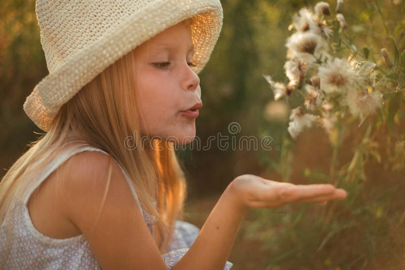 Beautiful little blonde girl with long hair in a hat at sunset near big dandelions. Ukrainian girl 6 years old in the field near royalty free stock photo