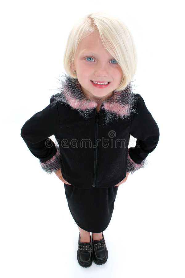 Beautiful Little Business Woman In Black Suit With Pink Feathers royalty free stock images