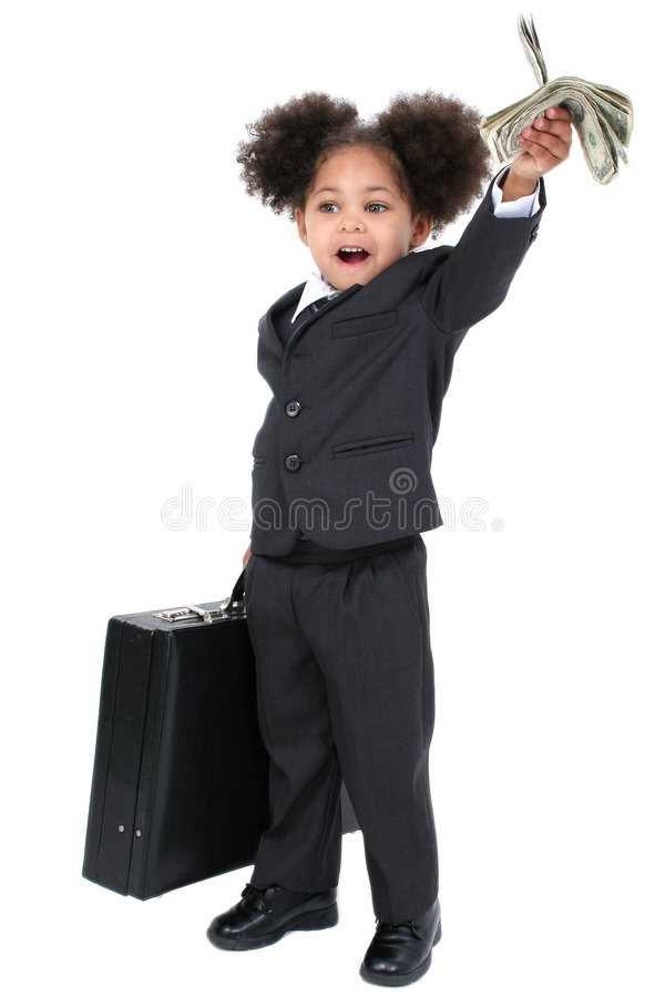 Beautiful Little Business Woman With Briefcase and Handful of Mo stock image
