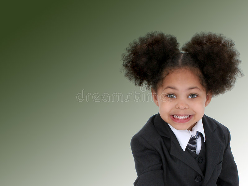 Beautiful Little Business Woman on Green Background royalty free stock photos