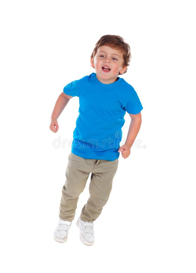 Beautiful little child three years old wearing blue t-shirt royalty free stock image