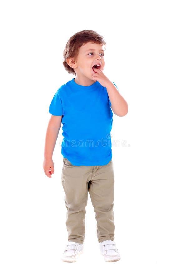 Beautiful little child three years old wearing blue t-shirt stock image
