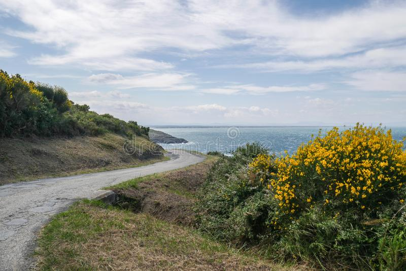 Beautiful little coastal road and amazing sea view. Beautiful coastal pathway with amazing sea view, Port Vendres coastline footpath and landscape, south of royalty free stock images