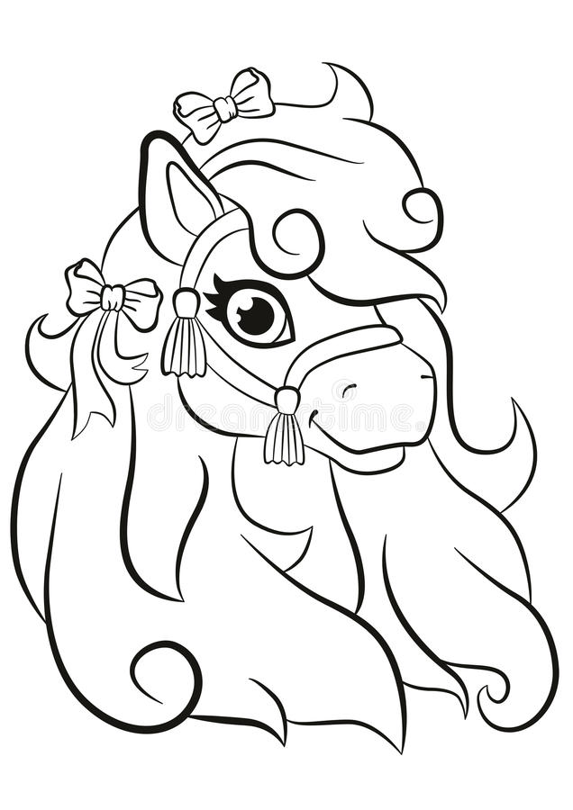 cute pony coloring pages - beautiful little cute pony smiling stock vector image