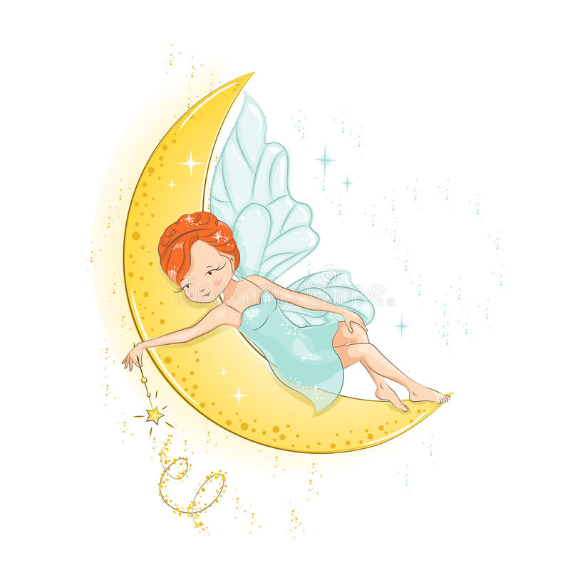 The beautiful little fairy. Fairy resting on the moon and she has a magic wand in her hand. She has red hair. She is in a gentle, air dress. Hand drawn royalty free illustration