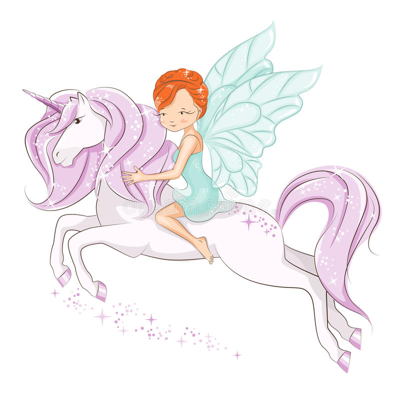The beautiful little fairy. The little fairy sitting on the magical unicorn. She has red hair. She is in a gentle, air dress. Hand drawn illustration isolated royalty free illustration