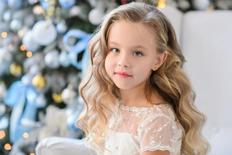 Beautiful little girl in a amazing dress royalty free stock photography