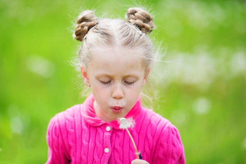 Sweet girl with two pigtails blowing on dandelions royalty free stock photography