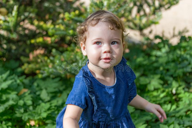 Beautiful little girl in a blue denim dress with curls walks in the park. Child 1 year old against the backdrop of foliage royalty free stock image