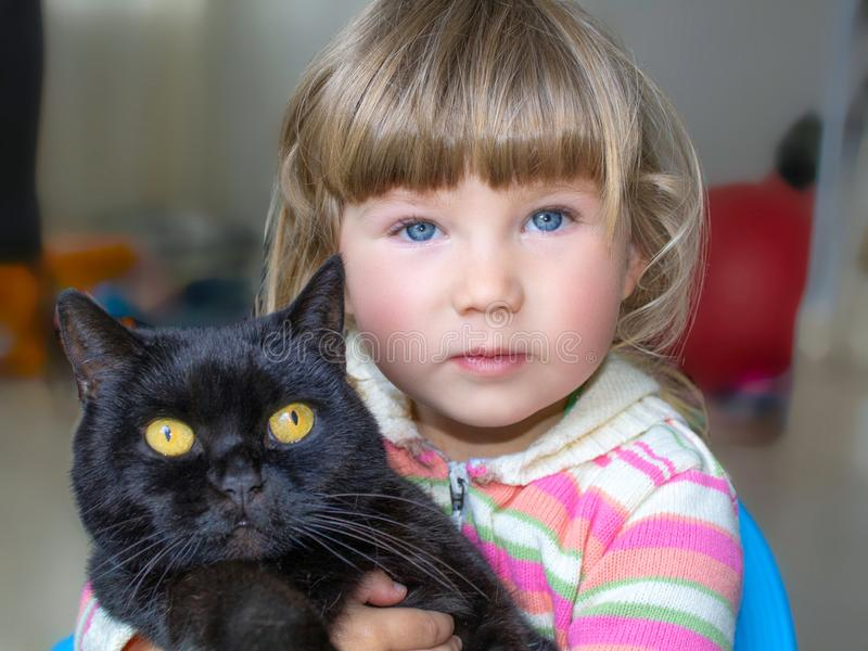 A beautiful little girl with blue eyes is holding a black cat. Friendship with pets. royalty free stock photography