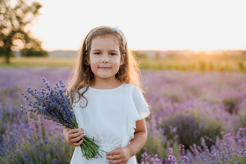 Beautiful Little Girl with Bouquet of Lavender stock photography