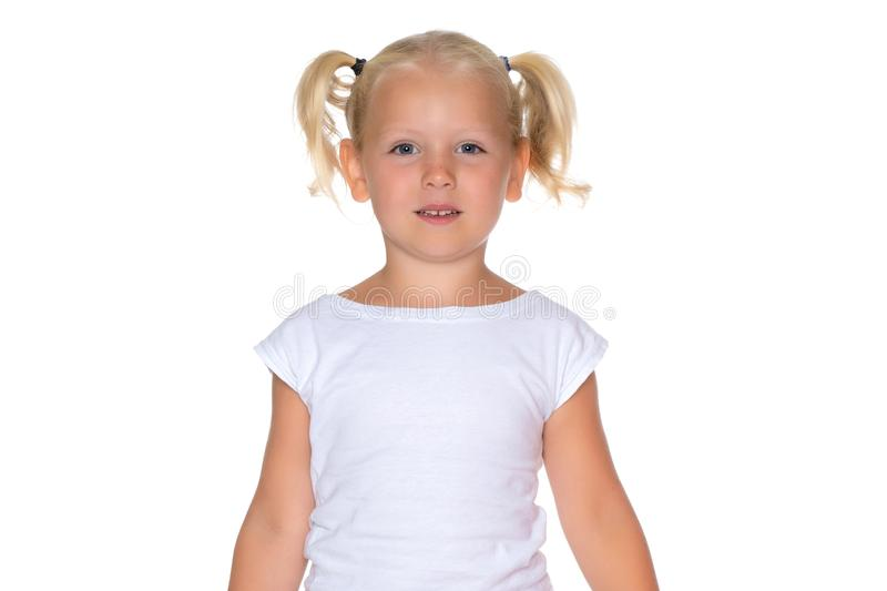 Portrait of a little girl close-up. royalty free stock image