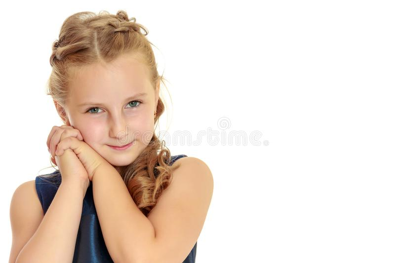 Portrait of a little girl close-up. royalty free stock photos