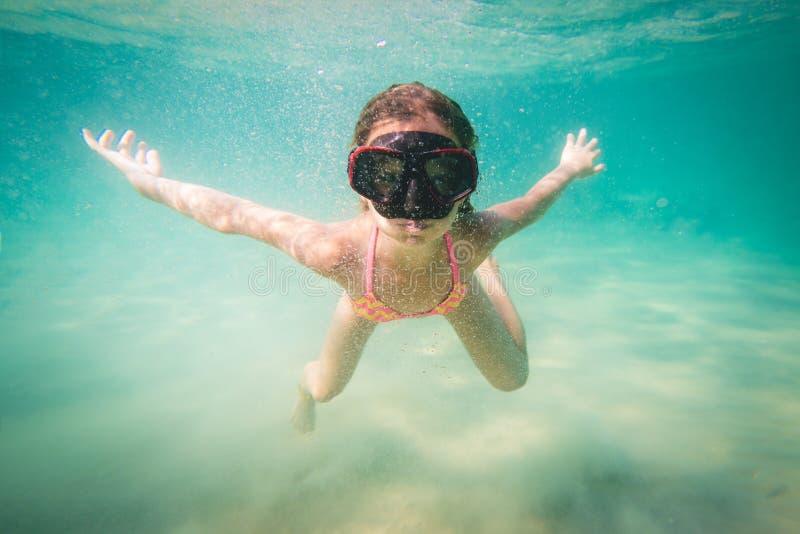 Little Girl Snorkeling royalty free stock image