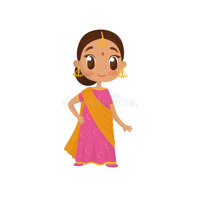 Flat vector icon of beautiful little girl dressed in traditional Indian sari. Cute child in national silk dress. Beautiful little girl dressed in traditional stock illustration