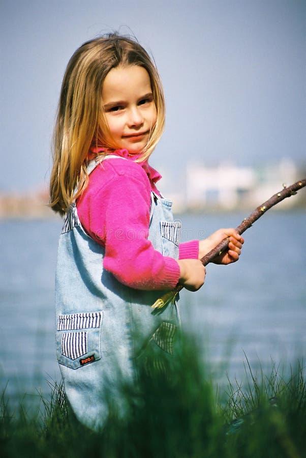 Beautiful Little Girl Fishing Royalty Free Stock Photos
