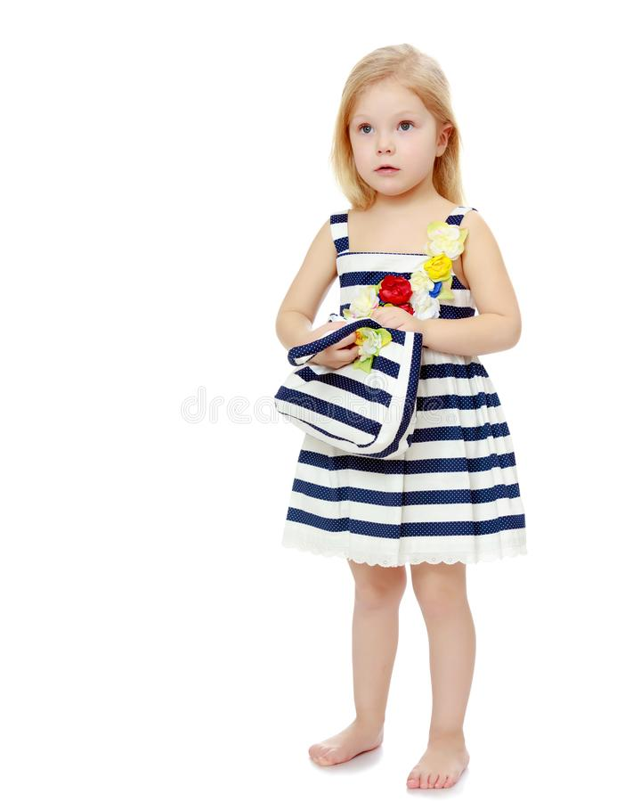 The little girl is full-length. royalty free stock photos