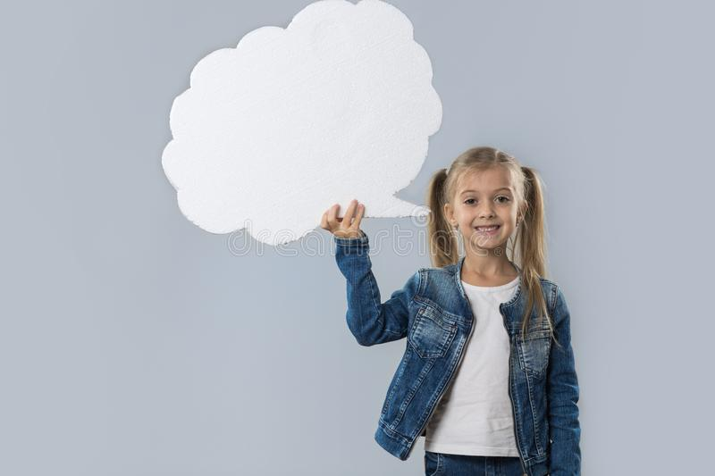 Beautiful Little Girl Happy Smiling White Cloud Copy Space Wear Jeans Coat Isolated royalty free stock image