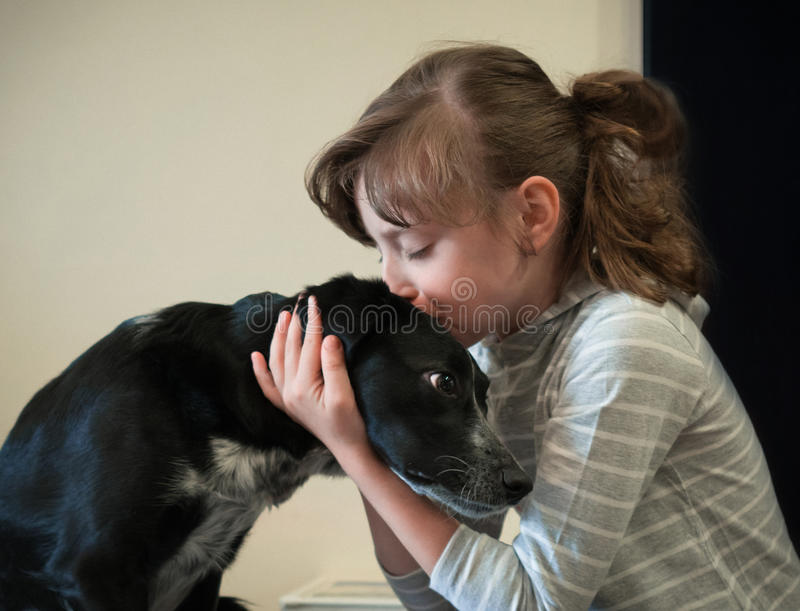 Beautiful little girl with her dog royalty free stock photography