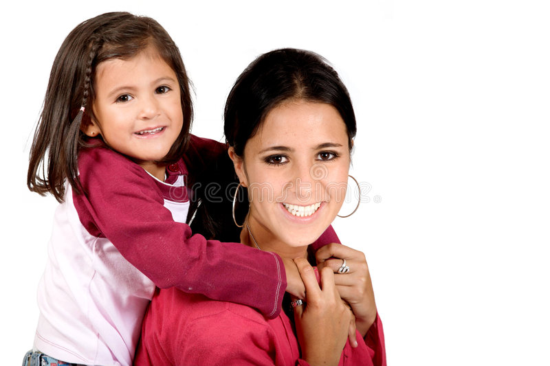 Beautiful little girl with her mum