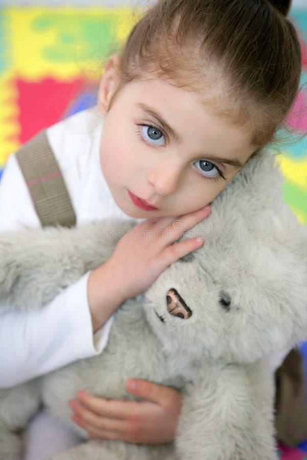 Download Beautiful Little Girl Hug Teddy Bear Stock Photo - Image: 9169190